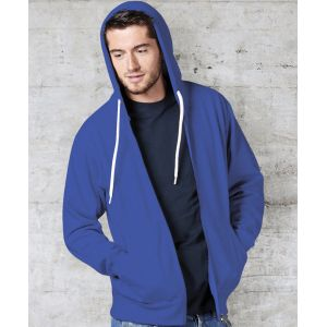 Sweat-shirt zippé à capuche doublée en polycoton, 280 g/m²