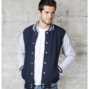 Veste sweat adulte bicolore avec boutons pression, 300 g/m²