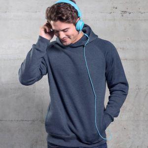 Sweat-shirt chiné manches raglan à capuche doublée, 300 g/m²