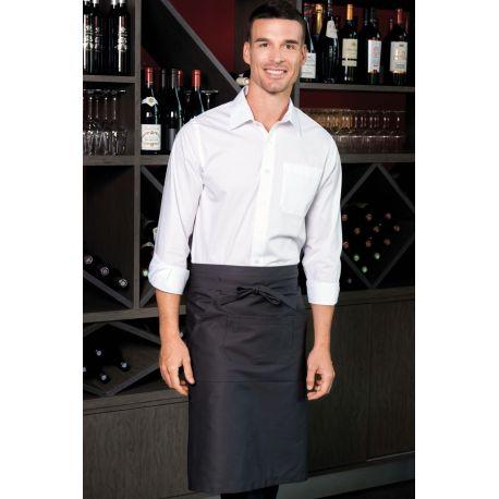 Tablier de bistro long en coton sans bavette avec 2 poches, 280 g/m²