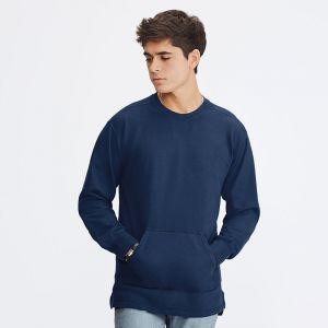 Sweat-shirt poche kangourou en coton teint et lavé, 237 g/m²