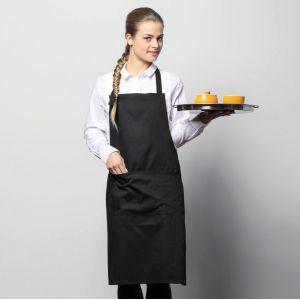 Tablier de cuisine à bavette avec poche plaquée en coton, 200 g/m²