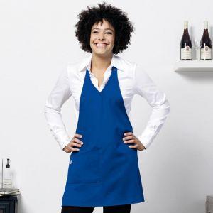 Tablier de cuisine femme confortable et élégant en col V, 205 g/m²