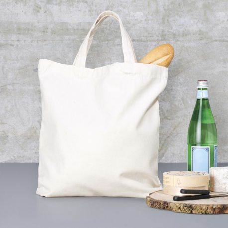 Tote bag en coton canvas, anses courtes, 340 g/m²