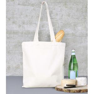 Tote bag en coton canvas, anses longues, 340 g/m²