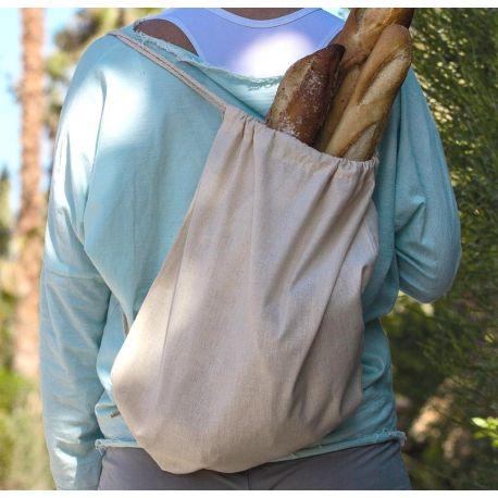 Sac à dos coton bio avec bretelle en cordon, 140 g/m²