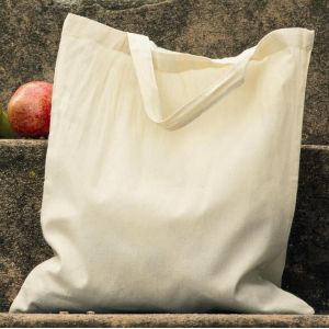 Tote bag, sac shopping en coton bio, anses courtes, 140 g/m²