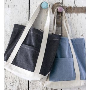 Sac shopping contrasté en coton canvas denim, 280 g/m²