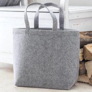 Grand sac à main en feutre, poche intérieure, anses courtes