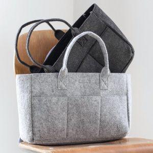 Mini sac à main en feutre, poche intérieure, anses courtes