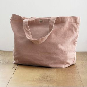 Sac shopping en coton canvas teinté, anses courtes, 450 g/m²