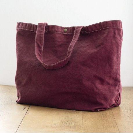 Grand sac shopping en coton canvas teinté, anses courtes, 450 g/m²