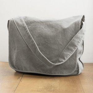 Sac messenger à bandoulière en coton canvas teinté, 340 g/m²