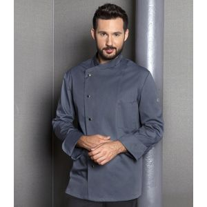 Veste de chef homme, manches longues, boutons-pression, 215 g/m²