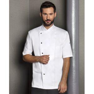 Veste de chef homme, manches courtes, boutons-pression, 215 g/m²