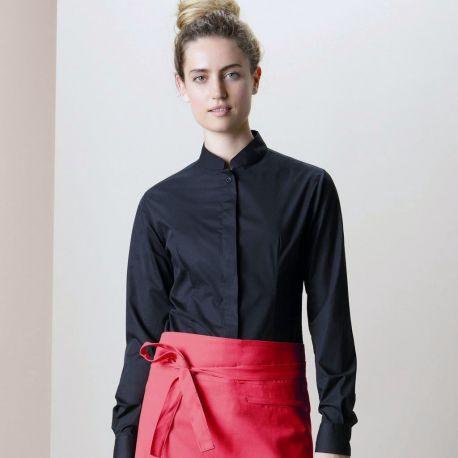 Chemise de bar élégante pour femme col Mao à manches longues