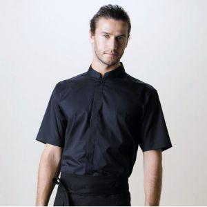 Chemise de bar élégante pour homme col Mao à manches courtes