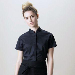 Chemise de bar élégante pour femme col Mao à manches courtes