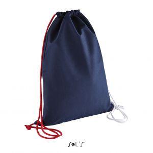 Sac à dos avec cordelettes contrastées, 100% coton canvas, 235 g/m²