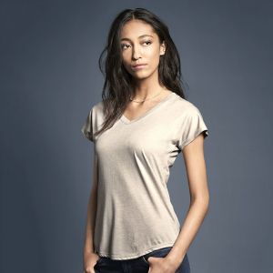 T-shirt femme col V doux 3 matières semi-cintrée, 160 g/m²