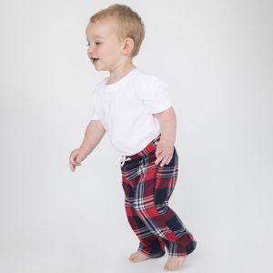 Pantalon bébé tartan confortable en coton, taille élastiquée