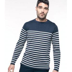 Pull marin homme manches longues en coton, 3 boutons à l'épaule