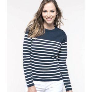 Pull marin femme manches longues en coton, 3 boutons à l'épaule