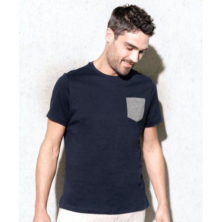 T-shirt en coton bio avec poche sur le coeur sans étiquette, 155 g/m²
