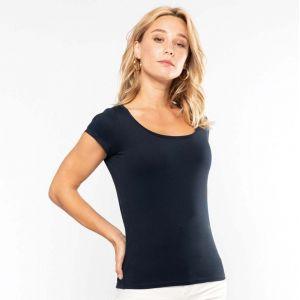 T-shirt femme col bateau à manches courtes en coton, 180 g/m²