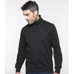Sweat-shirt col 1/4 zip en molleton gratté, manches montées, 300 g/m²