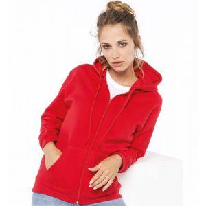 Sweat-shirt zippé en molleton gratté, manches montées, 280 g/m²