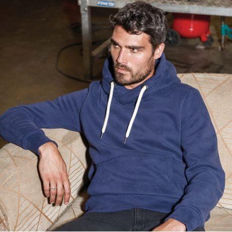 Sweat-shirt vintage à capuche sans étiquette de marque, 350 g/m²