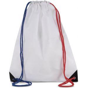 Sac à dos en polyester avec cordelettes et coins renforcés, 150 g/m²
