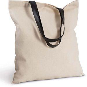 Sac shopping avec anses simili cuir, 220 g/m²