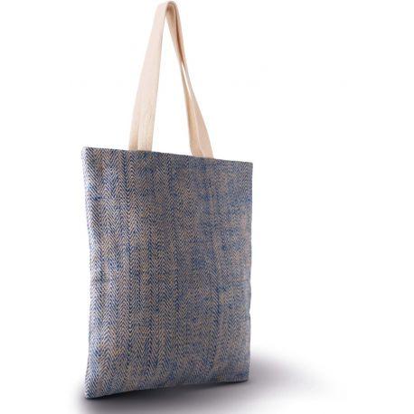 Sac en toile de jute avec fil tissé-teint, anses longues en coton