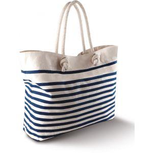 Grand sac de plage style marin, poche intérieure zippée, 310 g/m²