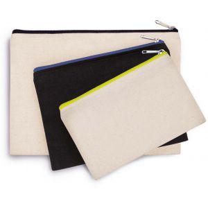 Pochette en coton avec fermeture éclair contrastée, 310 g/m²