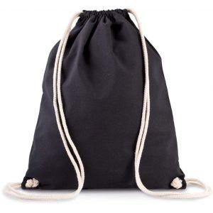 Sac à dos en coton bio avec cordon de serrage épais, 150 g/m²