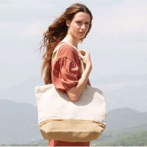 Grand sac shopping bicolore en coton et toile de jute, 500 g/m²