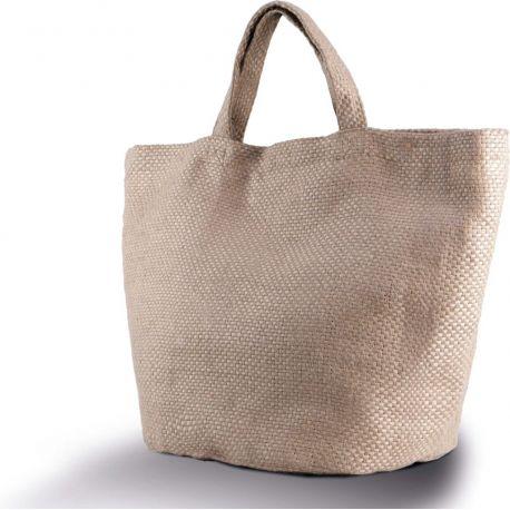 Grand sac shopping en toile de jute, poche intérieure, 100% naturel