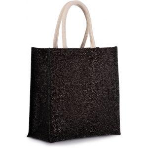 Grand sac cabas en toile de jute avec poignées en coton, 14 litres