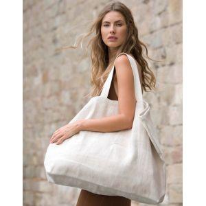 Grand sac de shopping fourre-tout esprit rustique en juco, 500 g/m²