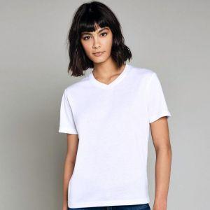 T-shirt femme col V pour impression en sublimation thermique, 210 g/m²