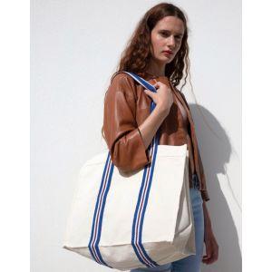 Grand sac cabas en coton bio avec anses longues rayées, 310 g/m²