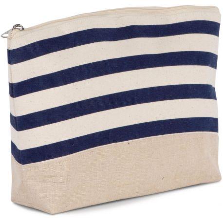 Pochette accessoires marinière en coton et jute, 310 g/m²