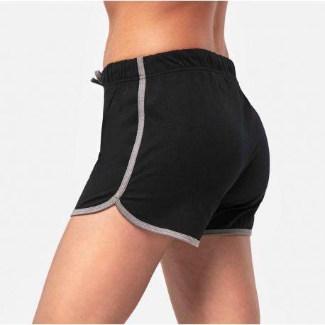 Short de sport femme en coton jersey, taille élastiquée, 210 g/m²
