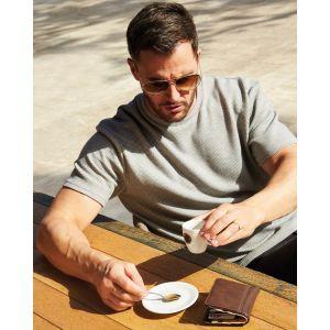 Porte-feuille aspect cuir pleine fleur pour billets et cartes de crédit