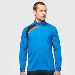 Sweat d'entraînement tricolore col 1/4 zip, 160 g/m²