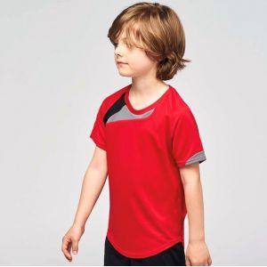 Maillot de sport enfant manches courtes tricolore, 140 g/m²