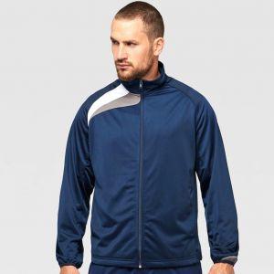 Veste de survêtement adulte zippée tricolore sans capuche, 220 g/m²